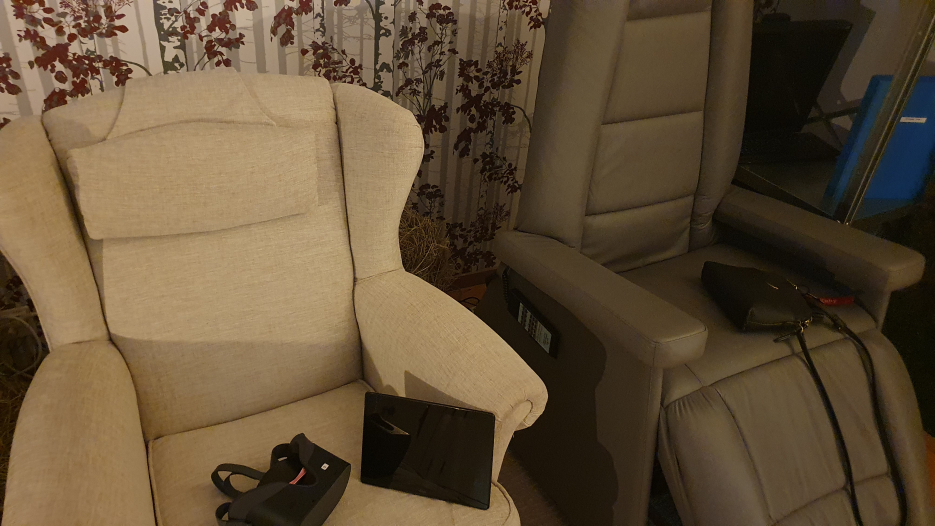 VR headset and relaxing chair