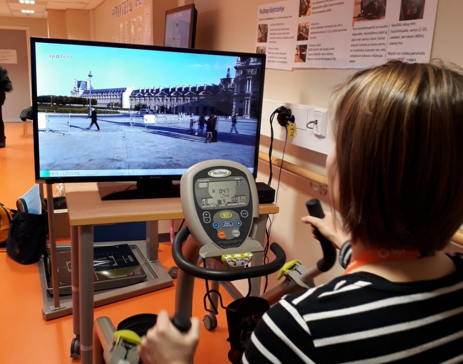 A woman testing exercise software