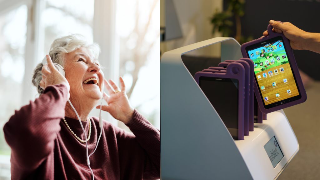 on the left old woman with headphones and on the right Hublet Tablets
