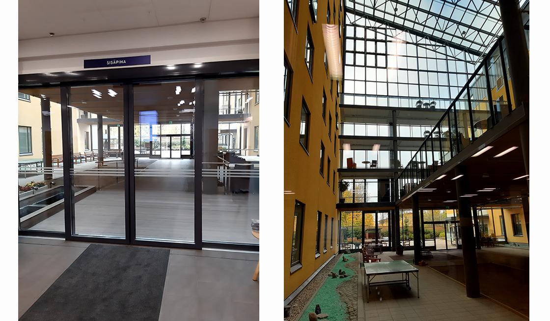 vasemmalla lasiovet käytävään ja oikealla sisäpihan lasikatto