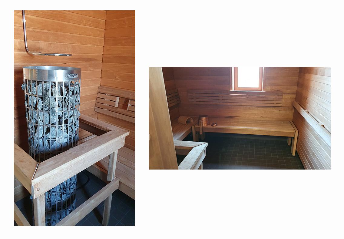 kaksi kuvaa, joissa vasemmalla saunan kiuas ja oikealla penkki