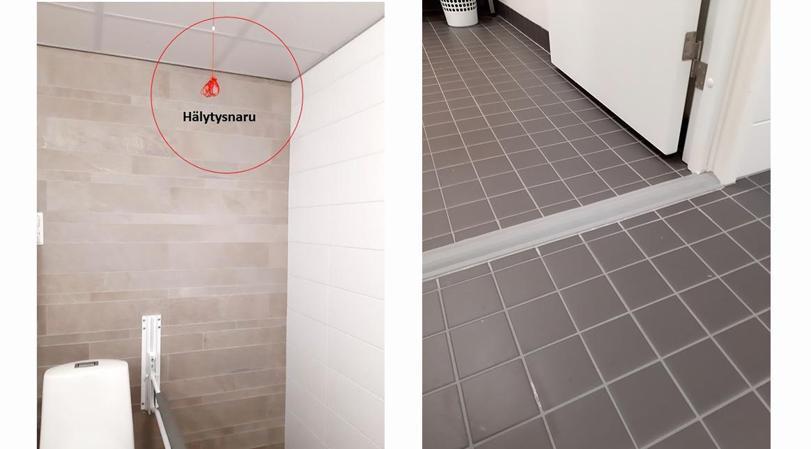 vasemmalla vessan hälytysnaru ja oikealla vessan lattia