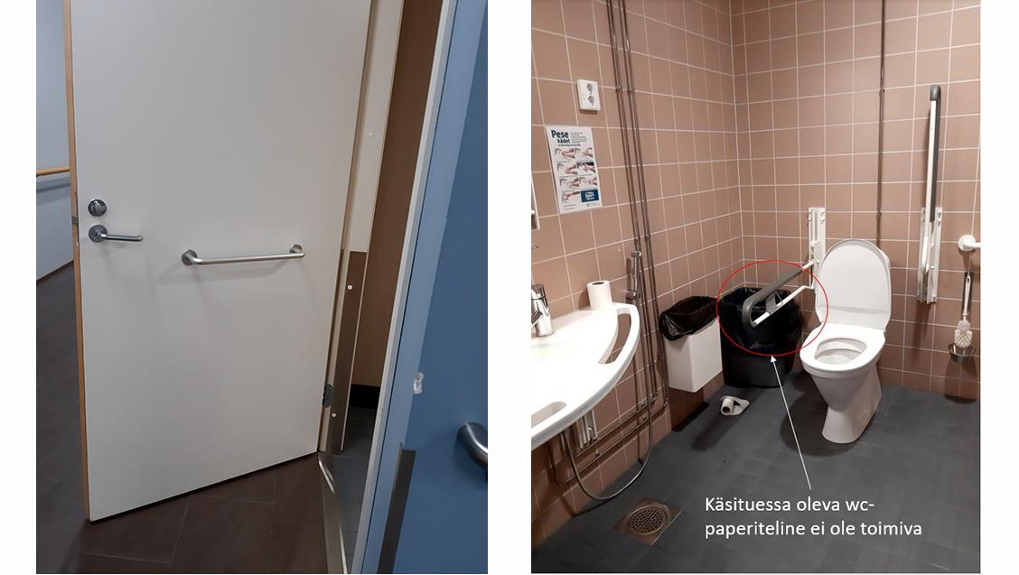 vasemmalla vessan ovi ja oikealla vessa